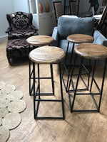 4 wood and metal stools
