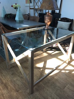 Glass top desk with wood base