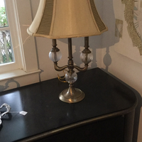 Pair of glass and brass lamps 10/29