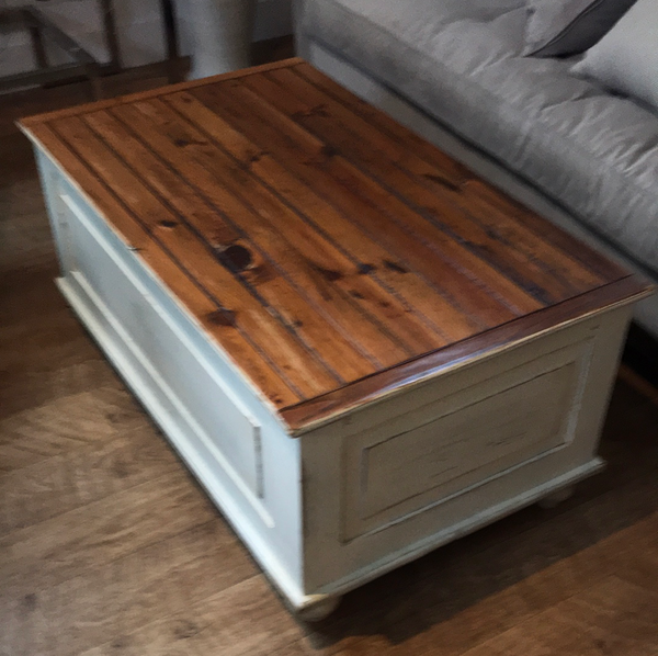 Wood and cream coffee table