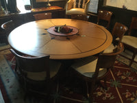 Custom 68 inch round dining table and chairs 10/21