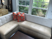 Leather and fabric banquette 8/14