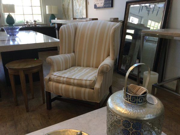 Beige and white striped wing chair 11/4