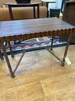 scalloped oak and metal table