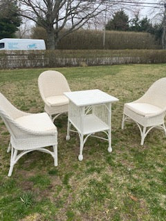 Set of three wicker chairs with table
