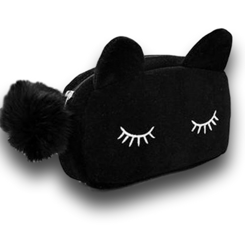 funny black kitty cat makeup bags