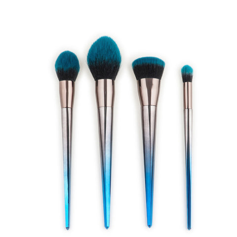 silver blue makeup brush set