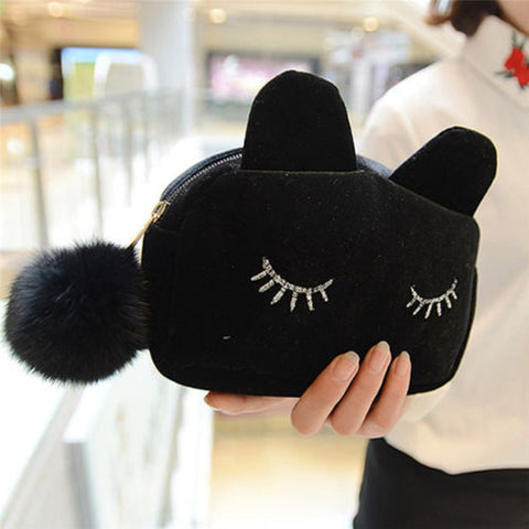 fun black kitty cat makeup bag