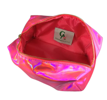 Pink Holograph Makeup Bag