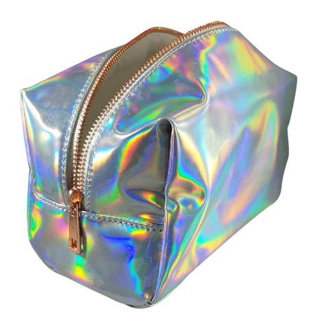 Shiny Silver Cosmetic Bag Holographic