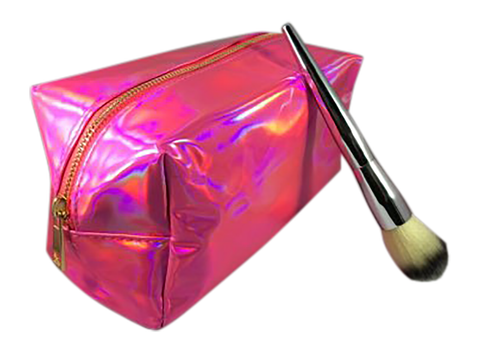 Hot Pink Holographic Make up Bag Cosmetic Case