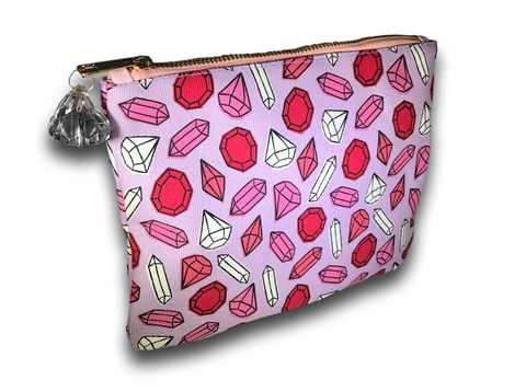 pink diamond pattern cosmetic bag