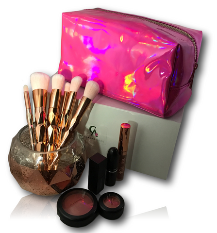 Pink Metallic Holographic Makeup Bag and Cosmetic Pouch
