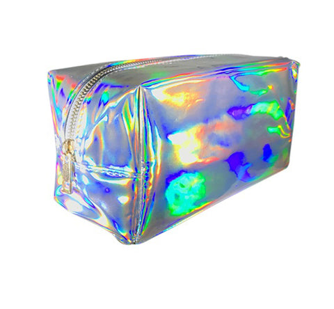 Cute Makeup Bags in Silver Holographic