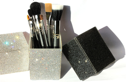 rhinestone bling makeup brush holder
