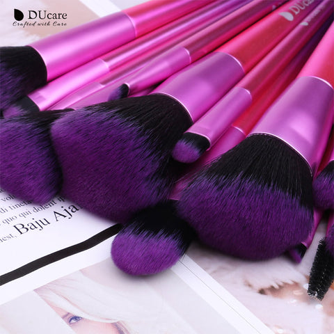15-piece Purple Gradient Makeup Brush Set