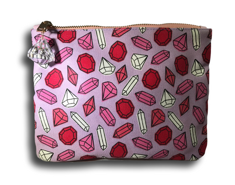 pink canvas makeup bag