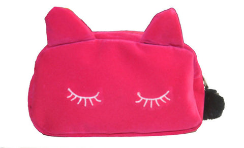 Pink Kitty Cat Cosmetic Bag