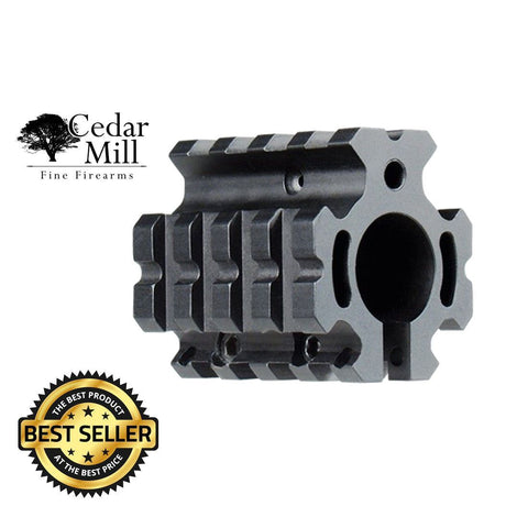 AR-15 Carbine Low Profile Quad Picatinny Rail Gas Block-AR-15 Gas Block-Cedar Mill Fine Firearms-802405674226-04712274528192