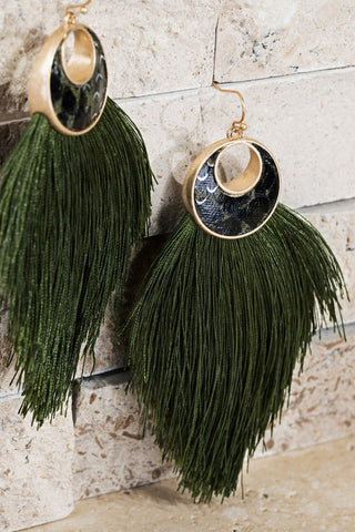 Tassel Snake Print Earrings