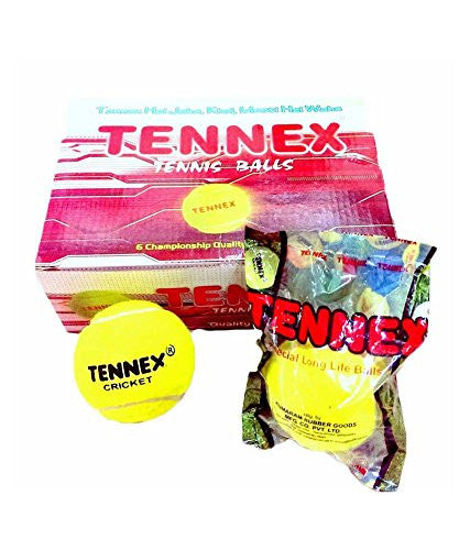 Tennex Heavy/Hard Tennis Cricket Balls 6 Pack