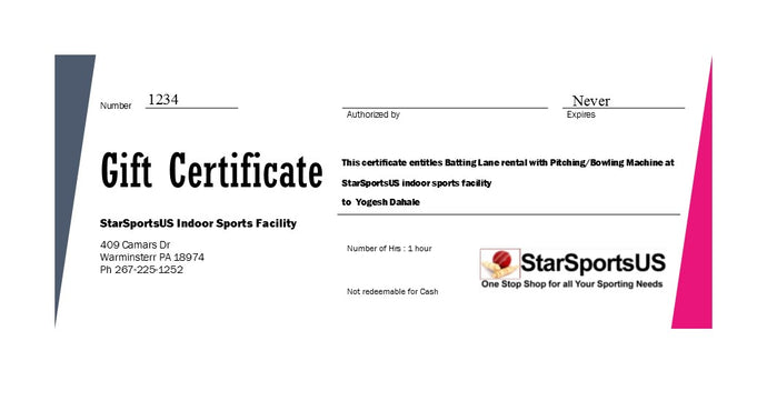 Indoor Baseball / Softball/ Cricket Batting Cage Gift Certificate