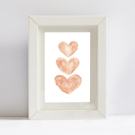 CORAL HEARTS WATERCOLOR PRINT
