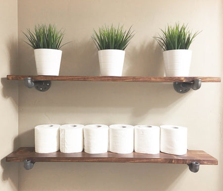 FARMHOUSE INDUSTRIAL FLOATING WOOD SHELF - SET OF 3