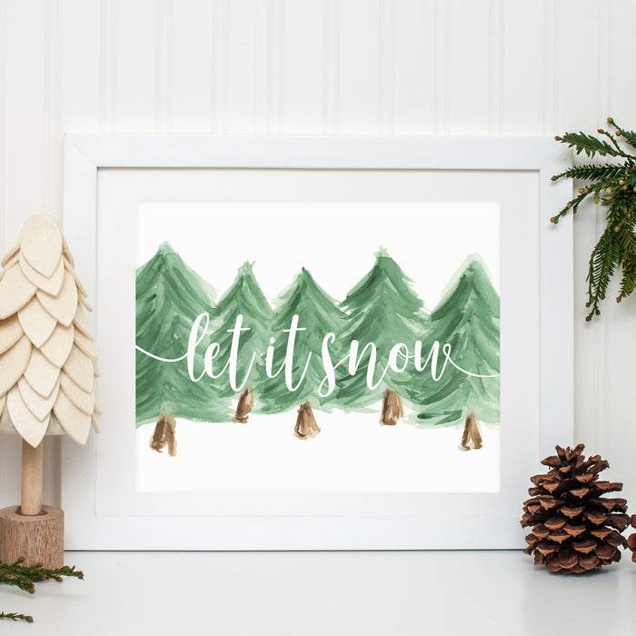 LET IT SNOW WATERCOLOR PRINT