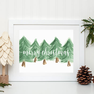 MERRY CHRISTMAS WATERCOLOR PRINT
