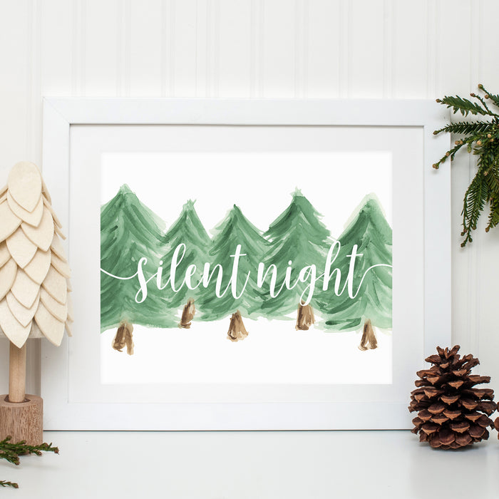 SILENT NIGHT WATERCOLOR PRINT