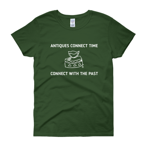 Women's short sleeve t-shirt- ANTIQUES CONNECT TIME