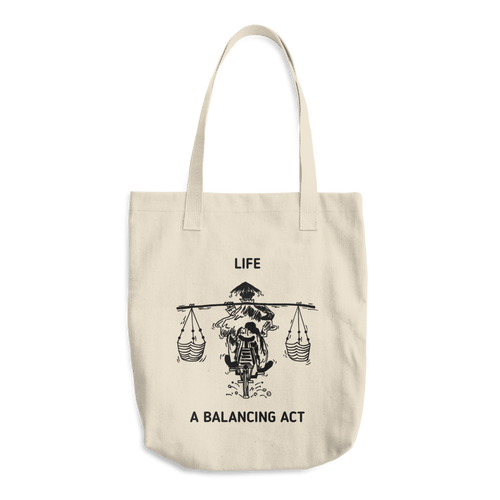 Cotton Tote Bag - LIFE, A BALANCING ACT