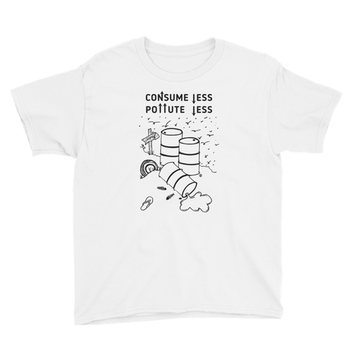 Youth Short Sleeve T-Shirt- CONSUME LESS, POLLUTE LESS