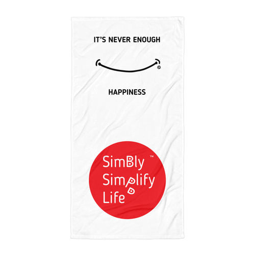 Beach Blanket- SIMBLY SIMPLIFY LIFE- IT'S NEVER ENOUGH, HAPPINESS