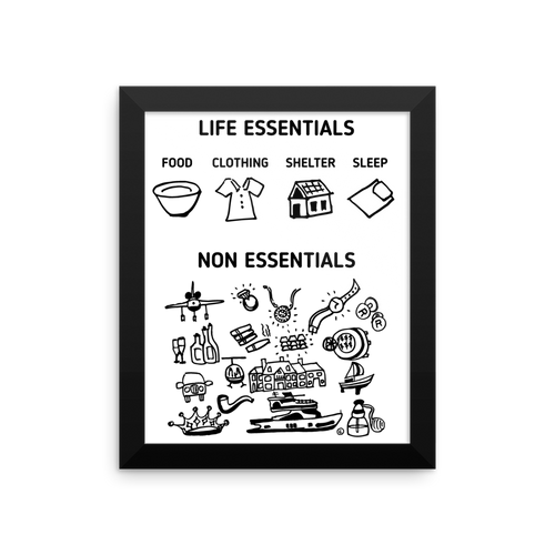 Framed photo paper poster: LIFE ESSENTIALS, NON ESSENTIALS
