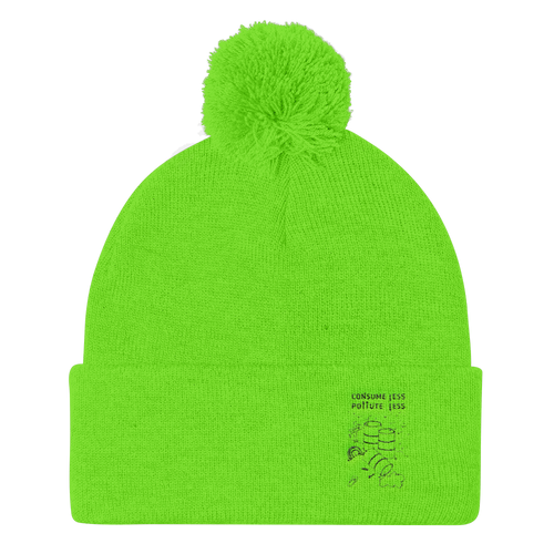 Pom Pom Knit Cap: CONSUME LESS, POLLUTE LESS