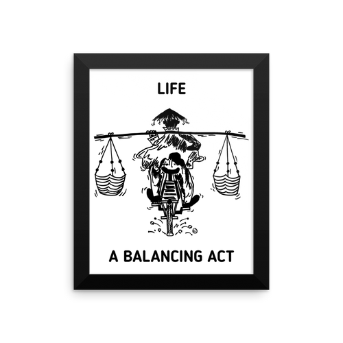 Framed photo paper poster-LIFE- A BALANCING ACT