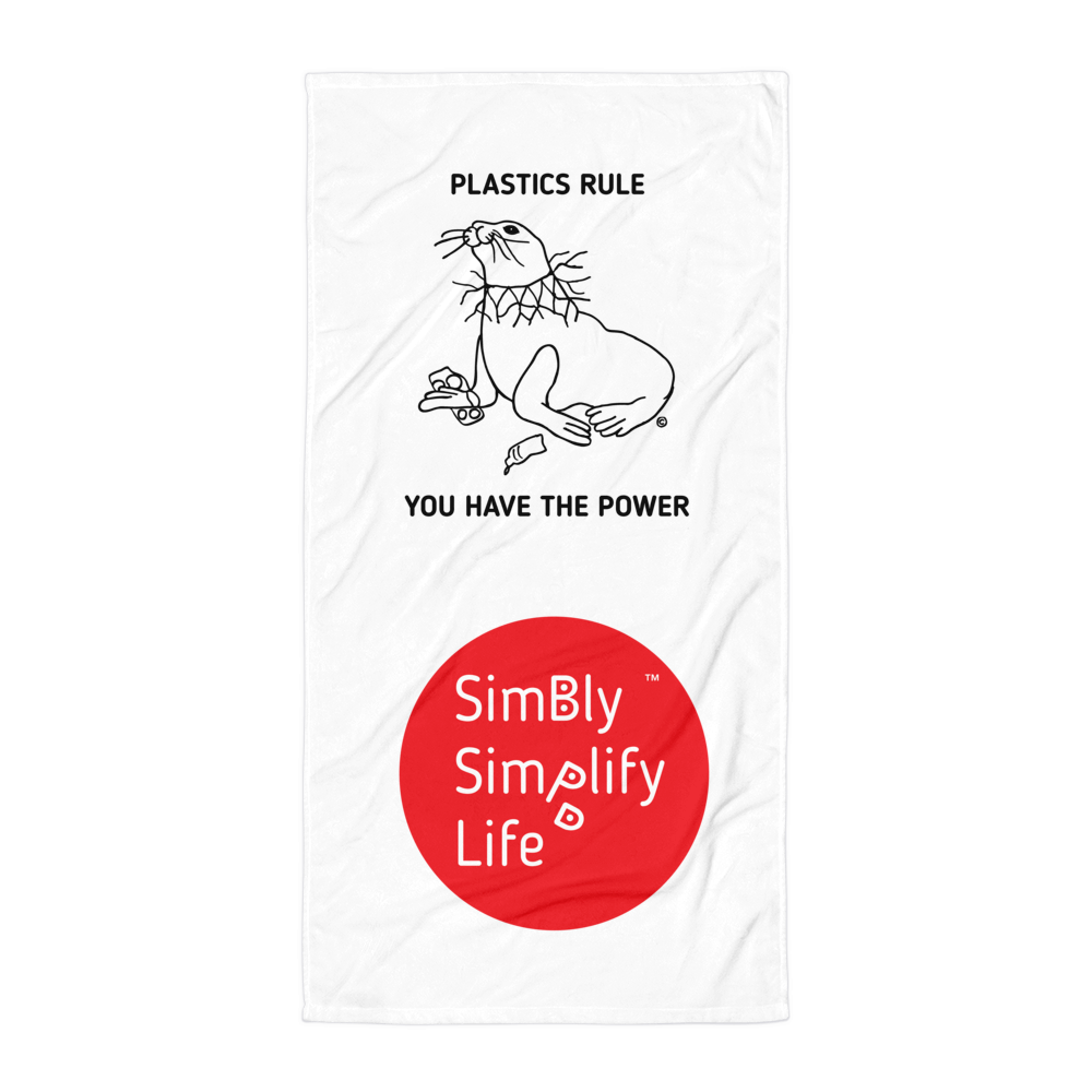 Beach Blanket- SIMBLY SIMPLIFY LIFE- PLASTICS RULE, YOU HAVE THE POWER