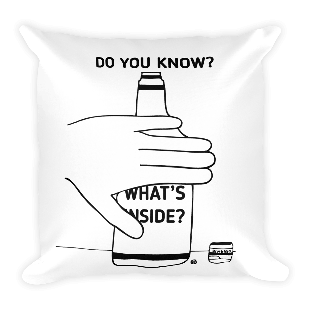 Square Pillow- DO YOU KNOW? WHAT'S INSIDE?
