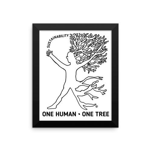 Framed photo paper poster: ONE HUMAN-ONE TREE