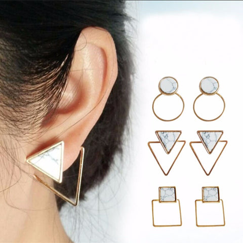 White  Geometric Round/Square/Triangle Marbled Stone Earrings From India