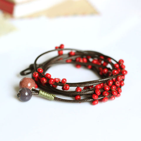 Delicate Hand-Woven Ceramic Beads Bracelet Originality Chinese Style