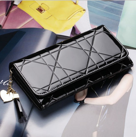Lady  Fashion Long Purse Patent Leather Women