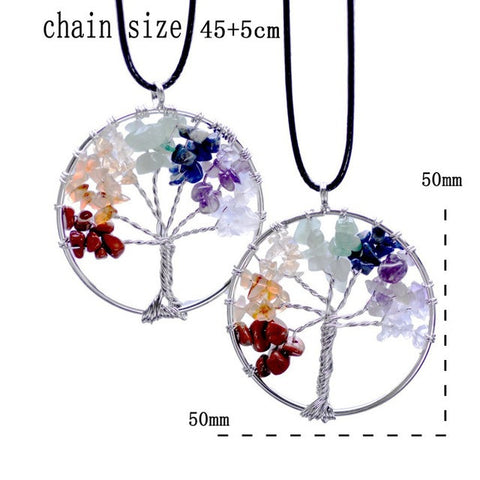 Tree Of Life Natural Stone Chips Pendant Necklace Multicolor