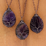 Water Drop Shaped  Crystal  Natural Stone Tree Of Life Pendant Necklace