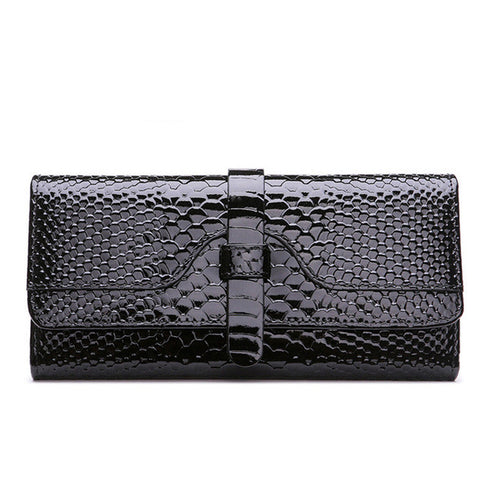 Luxury Fashion Women leather wallet purse lady clutch serpentine