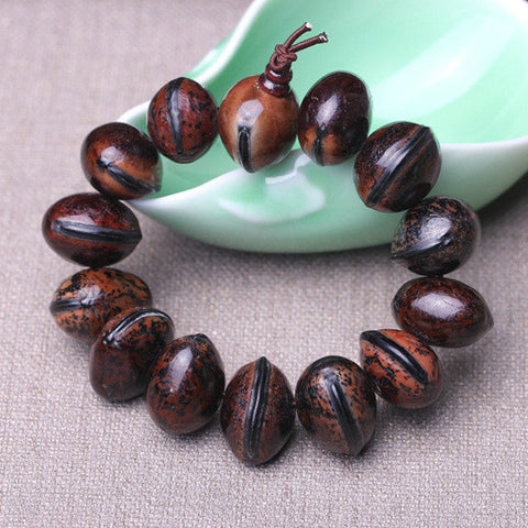 Wooden fish fruit Bodhi bodhi prayer seed beads bracelet