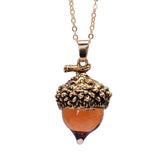 Bronze Silver Gold Color Water Drop Glass Acorn Oak Pendant Necklace