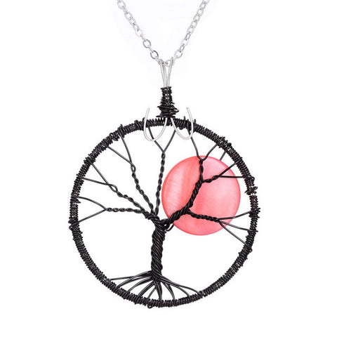 Black Silver Color Round  Shell Tree Of Life Pendant Necklace